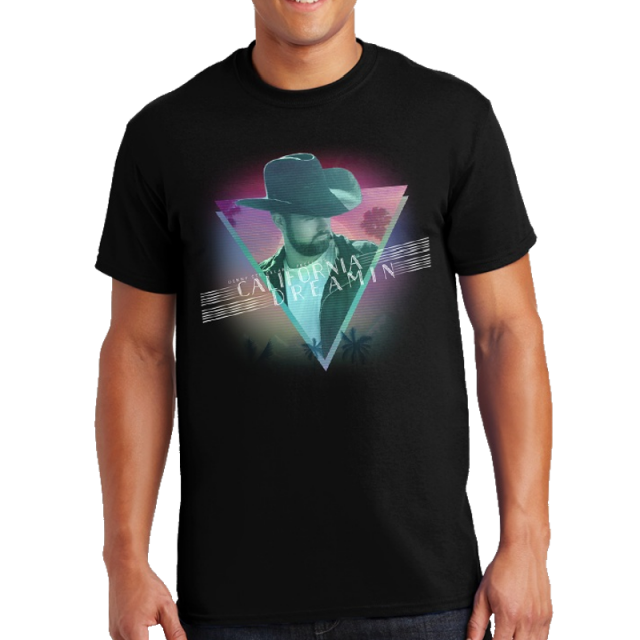 Denny Strickland Black Tee- California Dreamin